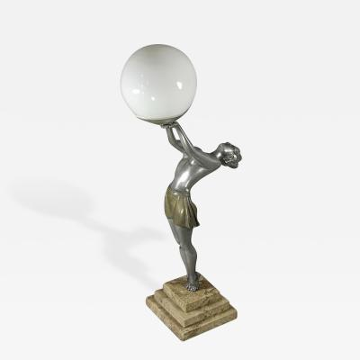 Enrique Molins Balleste French Art Deco Statue Lamp by Balleste