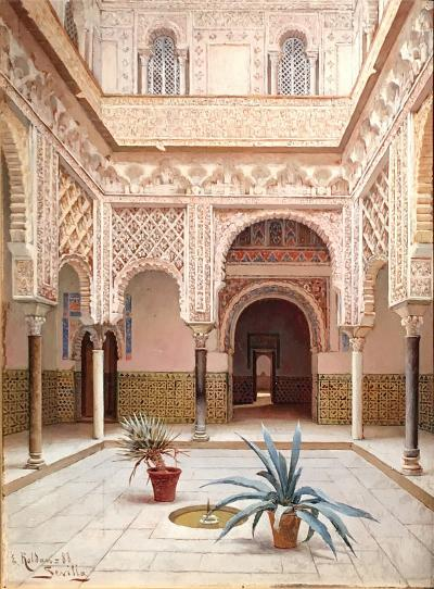 Enrique Roldan In the Courtyard the Alcazar of Seville