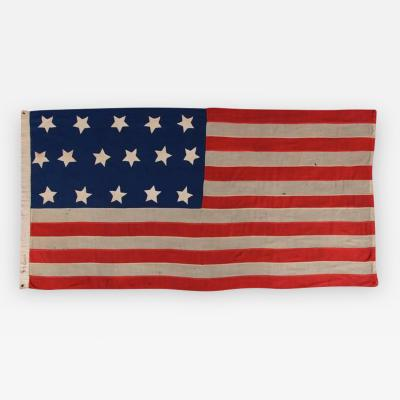 Entirely Hand Sewn Antique American Flag with 16 Stars Tennessee Statehood