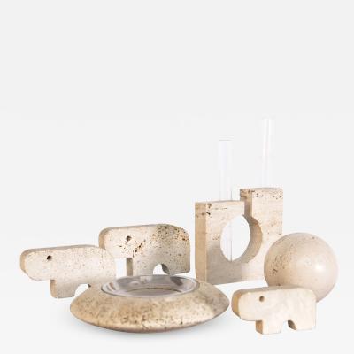 Enzo Mari Decorative Travertine Desk Set by Enzo Mari
