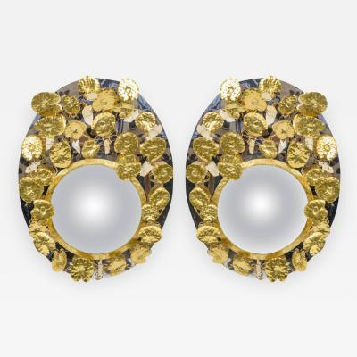 Enzo Missoni Pair of Mirrors with Rock Crystal