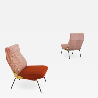 Erberto Carboni Arflex Pair of Delfino armchair by Erberto Carboni original label 1950s