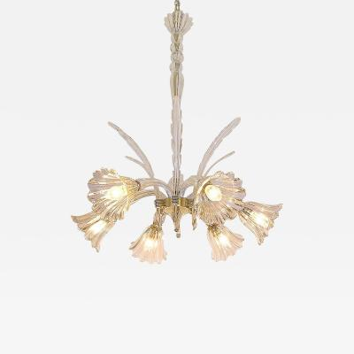 Ercole Barovier 1930s Ercole Barovier Six Light Crystal Clear Murano Glass Chandelier