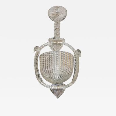 Ercole Barovier 1940 Barovier Italian Art Deco Crystal Clear Murano Glass Basket Chandelier