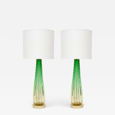 Ercole Barovier Barovier Citrus and Emerald Green Murano Glass Lamps