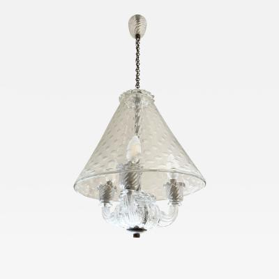 Ercole Barovier Barovier Three Light Murano Glass Pendant Italy 1940s