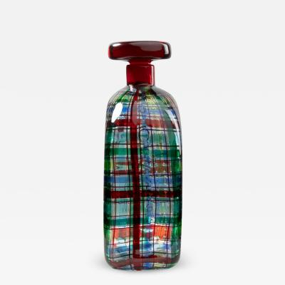 Ercole Barovier Barovier for Christian Dior Paris Tartan Murano Glass Bottle with Stopper
