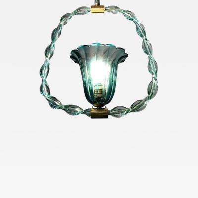 Ercole Barovier Charming Aquamarine Murano Glass Lantern by Ercole Barovier 1940s