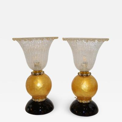 Ercole Barovier Italian Art Deco Style Gold Black Lamps with Barovier Crystal Murano Glass Shade