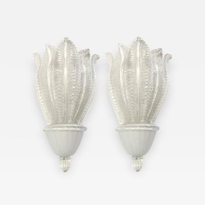Ercole Barovier Large Barovier Glass Leaf Sconces Five Sconces Available