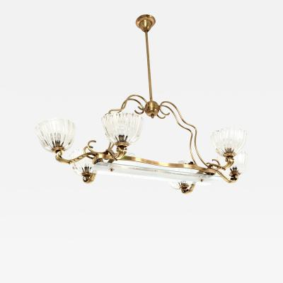 Ercole Barovier Large Blown Glass and Brass Chandelier by Ercole Barovier Italy 1940s