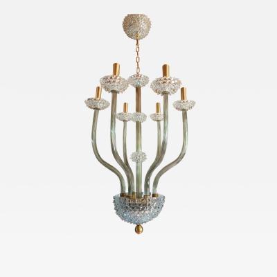 Ercole Barovier Mid Century Modern clear Khaki Green Murano glass chandelier by Barovier 1970s