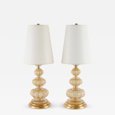 Ercole Barovier Pair of 1940s Bubble and Gold Leaf Cordonato DOro Lamps