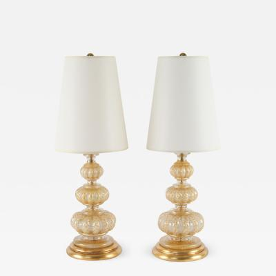 Ercole Barovier Pair of 1940s Bubble and Gold Leaf Cordonato dOro Lamps by Ercole Barovier