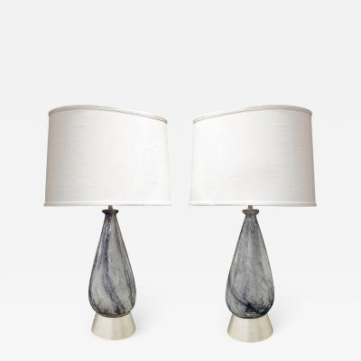 Ercole Barovier Pair of Hand Blown Glass Table Lamps Attributed to Ercole Barovier 1930s