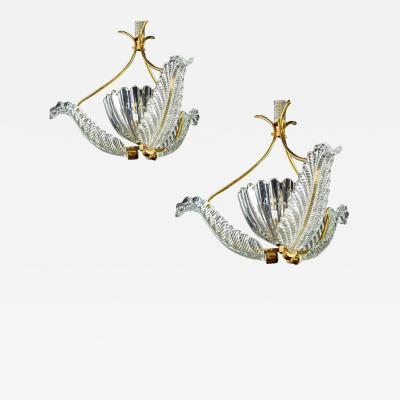 Ercole Barovier Pair of Liberty Pendants or Lanterns by Ercole Barovier 1940s