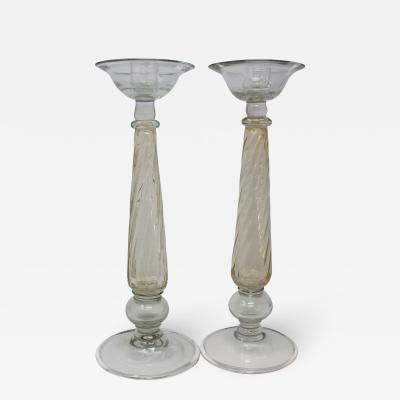 Ercole Barovier Vintage Murano Glass Candle Holders a Pair