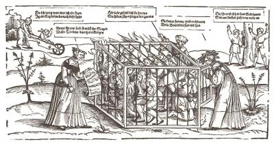 Erhard Sch n Narrenkafig Cage of Fools Woodcut c 1530