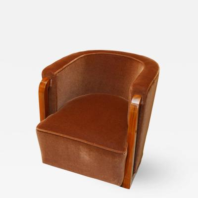 Eric Bagge Eric Bagge for Mercier Freres Modernist Club Chair in French Walnut