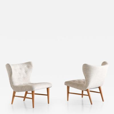 Eric Bertil Karl n Eric Bertil Karl n Pair of Lounge Chairs Sweden 1940s