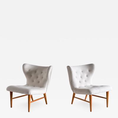 Eric Bertil Karl n Eric Bertil Karl n Pair of Lounge Chairs in Ivory Linen and Elm Sweden 1940s