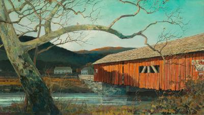 Eric Sloane Afternoon Shadows on Red Covered Bridge