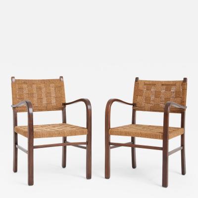 Erich Dieckmann A Pair of Bahaus Beech Seagrass Rope Armchairs by Erich Dieckma
