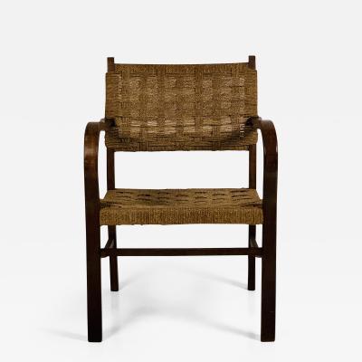 Erich Dieckmann Early Bauhaus Woven Rope and Oak Armchair by Erich Dieckmann