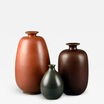 Erich Triller Group of vases with reddish brown glaze by Erich and Ingrid Triller for Tobo