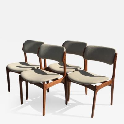Erik Buch Set of Four Danish Modern Erik Buch Teak Chairs