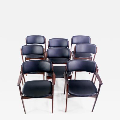Erik Buck Eight Danish Modern Rosewood Dining Chairs Designed by Erik Buck