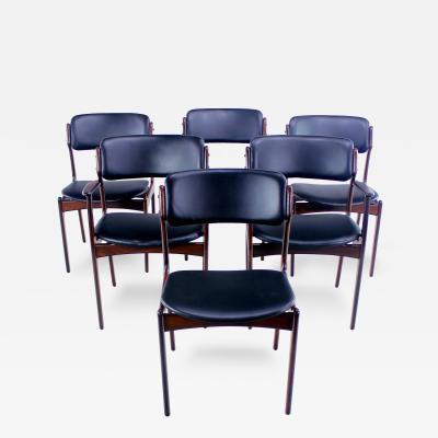 Erik Buck Set of Six Danish Modern Rosewood Dining Chairs Designed by Erik Buck