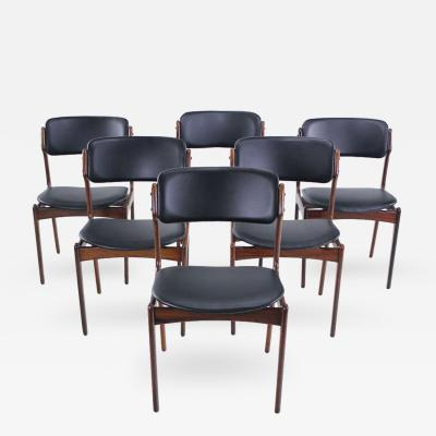 Erik Buck Set of Six Danish Modern Rosewood Dining Chairs Designed by Erik Buck