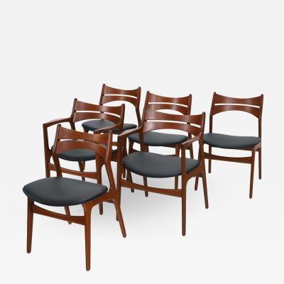 Erik Buck Set of Six Scandinavian Modern Teak Dining Chairs Designed by Erik Buck