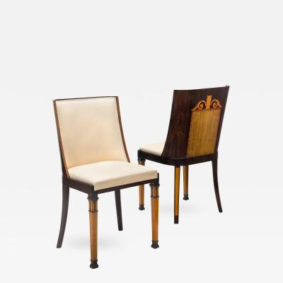 Erik Chambert Attributed A Pair of Swedish Grace Period Goncalo Alves and Birch Dining Chairs