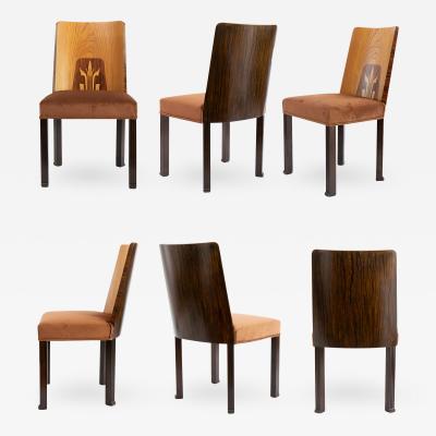 Erik Chambert ERIK CHAMBERT SET OF 6 SWEDISH ART DECO Marquetry SIDE CHAIRS