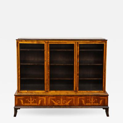 Erik Chambert Erik Chambert Birch Ebonized and Fruitwood Inlaid Bookcase Cabinet circa 1940