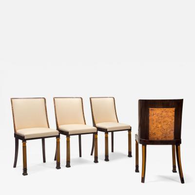 Erik Chambert Erik Chambert Set of 4 Swedish Grace Elm and Burlwood Chairs