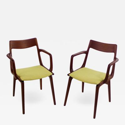 Erik Christensen Pair of Scandinavian Modern Dining Chairs Designed by Erik Christiansen