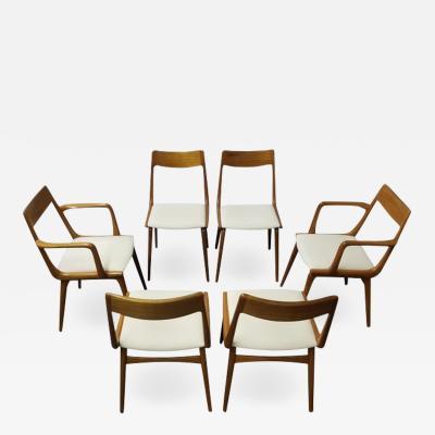 Erik Christensen Set of Six Erik Christiansen Boomerang Teak Dining Chairs