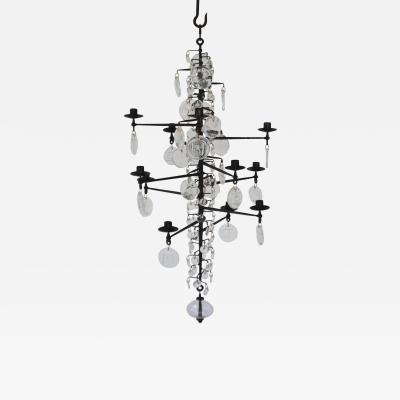 Erik H glund Mid Century Wrought Iron and Glass Chandelier