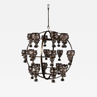 Erik H glund Monumental spherical ceiling lamp chandelier in wrought iron