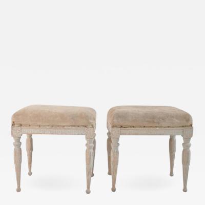 Erik Holmberg 18th Century Pair Of Swedish Gustavian Period Footstools