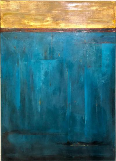 Erik J Erikson Golden Sky Blue and Gold Abstract