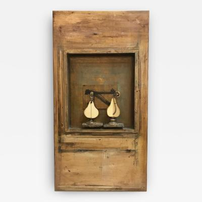 Erik J Erikson Two Pears on Stage 3D Mixed Media Wall Sculpture