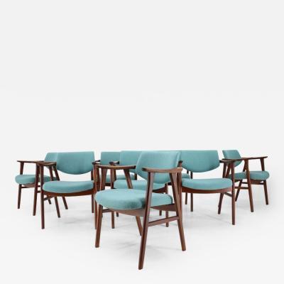 Erik Kierkegaard Unique Set of 8 Rare Teak Dining Chairs by Erik Kierkegaard