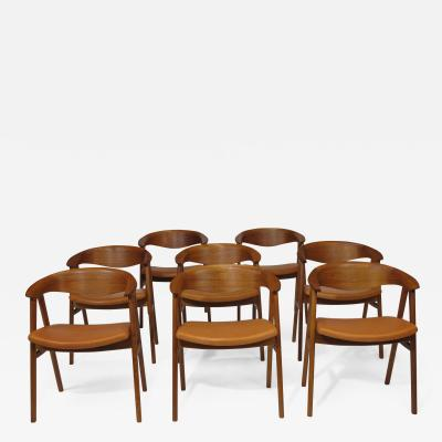 Erik Kirkegaard Erik Krikegaard Danish Teak Dining Chairs in Saddle Leather
