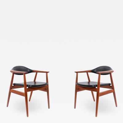 Erik Kirkegaard Set of 4 4 Black Vinyl and Teak Erik Kirkegaard Midcentury Side Chairs