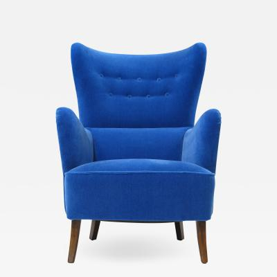 Erik W rts Erik Worts 1950s Highback Lounge Chair in Blue Mohair