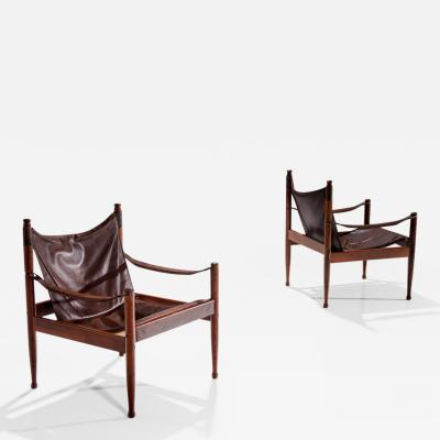 Erik W rts Pair of Erik W rts Safari Chairs in Dark Brown Leather Denmark 1960s